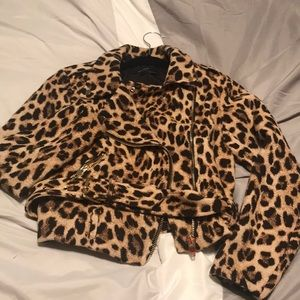 Zara Basic Animal Print Motorcycle Jacket